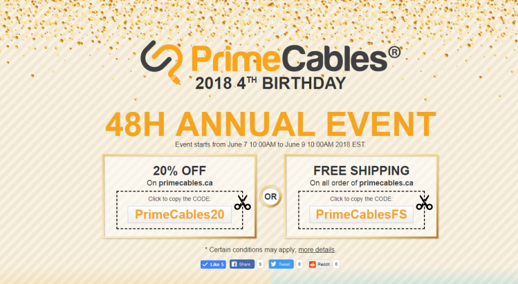 PrimeCables birthday , all deals will appear during June 7-9 10:00 AM EST